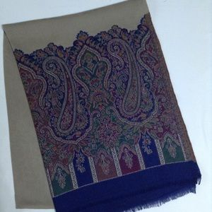 New Beige and Blue printed shawl- Silk-Colton
